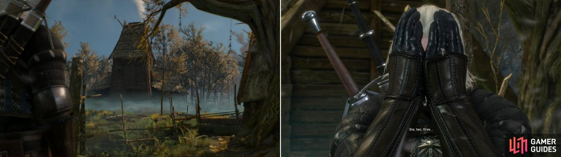 You'll find a small settlement in the middle of the swamp, at the end of the Trail of Treats (left). After Gran spoils your search, participate in a game of hide-and-seek with the children (right).