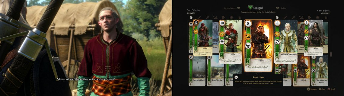 The elven Merchant at the circus camp might have a bit of a Gwent problem… (left). Defeat him, however, and you'll obtain the Schirru card (right).