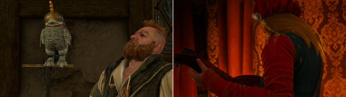 Zoltan shows off his newly-aquired, and oddly-attired, pet (left). After some expert investigation Geralt follows the leads to the object of Dandelion's ongoing infatuation (right).
