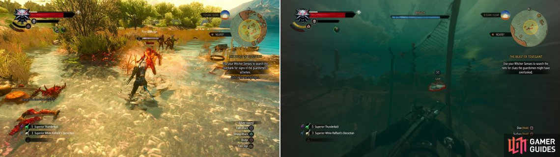 Defeat the necrophages on the shore (left) then search some fishing nets to find a monogrammed handkerchief (right).