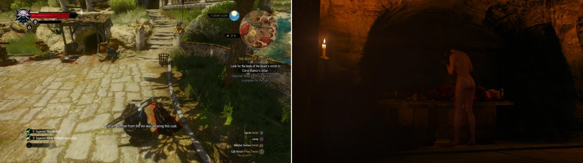 Search the clues around Corvo Bianco (left) and follow them into the cellar, where you'll find the corpse from the river… and the other being searching for it (right).