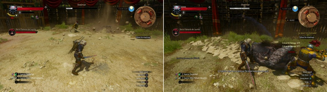 When pressured, the Shaelmaar may burrow and spin, dealing damage to anything nearby (left). Stand near the arena walls and dodge when it charges you. The resulting impact will stagger it and leave it vulnerable (right).