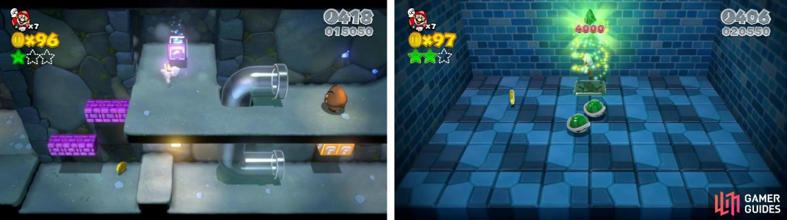 Enter the Mystery Box (left) and defeat the turtles inside for a Star.