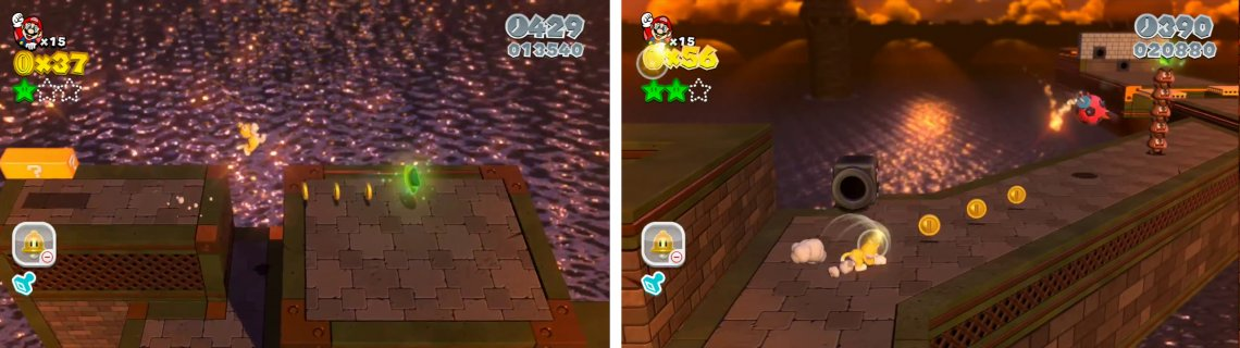Use the Cat Wheel to raise a platform and jump to the Star (left). Defeat the Goomba Tower for the final Star (right).
