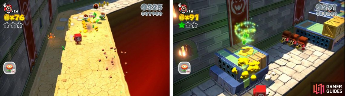 Destroy the Piranha Plants for the first Star (left). Break the crate on the next tank for another Star (right).