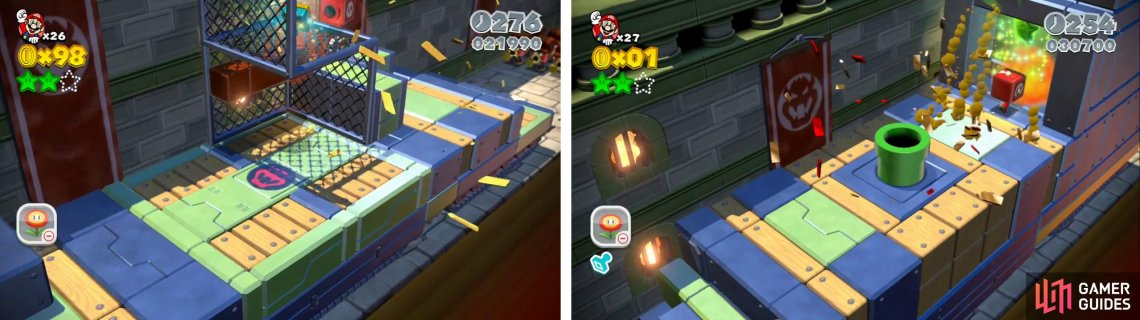 Hop up and grab the Stamp (left). Destroy the wall behind the Warp Pipe for the final Star (right).