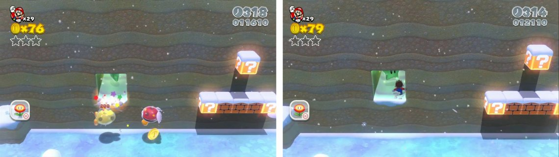 Defeat the enemies (left) and grab the Star from the alcove they were hiding (right).