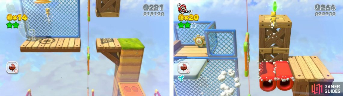 Use the Cat Suit to climb the fence (left) for the Stamp. Use the Cat Wheel and jump across to the final Star (right).