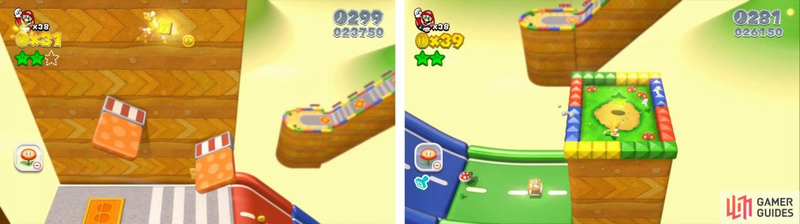 Use the Jump Panel to reach the Stamp (left). Climb the wall behind the Mystery Box for the final Star (right).