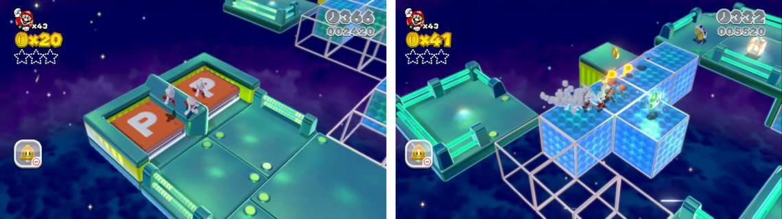 Use clones to activate the dual P Switch (left) for coins. Jump across the Beep Blocks to reach the first Star (right).