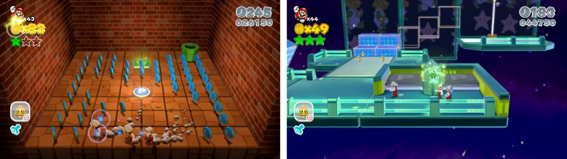 Enter the Warp Pipe and collect all the coins (left) for a Star. Use clones to activate the P-Switch before the Goal Pole for the final Star (right).