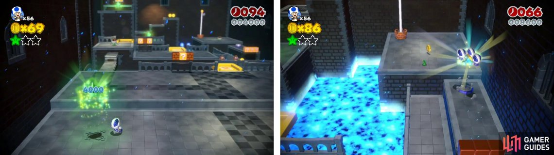 Smash the ground by the start (left) for a Star and use the Toad switch for the level's Stamp (right).