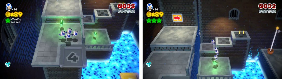 Use the 4 person elevator (left) for s Star and then drop down to the third Star (right).