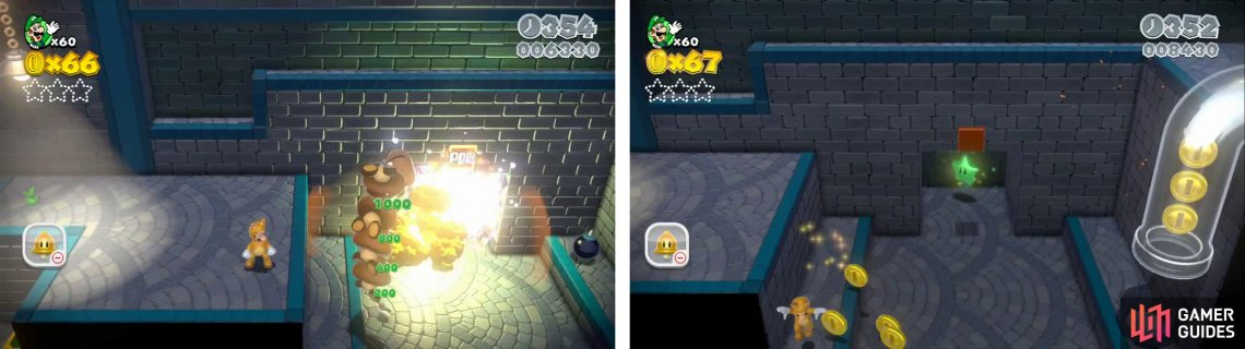 Blow up the wall by the Goomba tower to find a star within (right)..