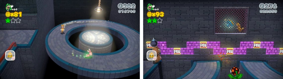 Catch the glowing rabbit (left) for a Star. toss a bomb at the POW block to create an opening to reach the Stamp (right).