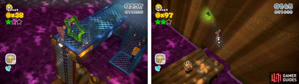 Hop through the green ring and collect the coins for the first Star (left). The final Star is above the Warp box at the end of the raft ride.