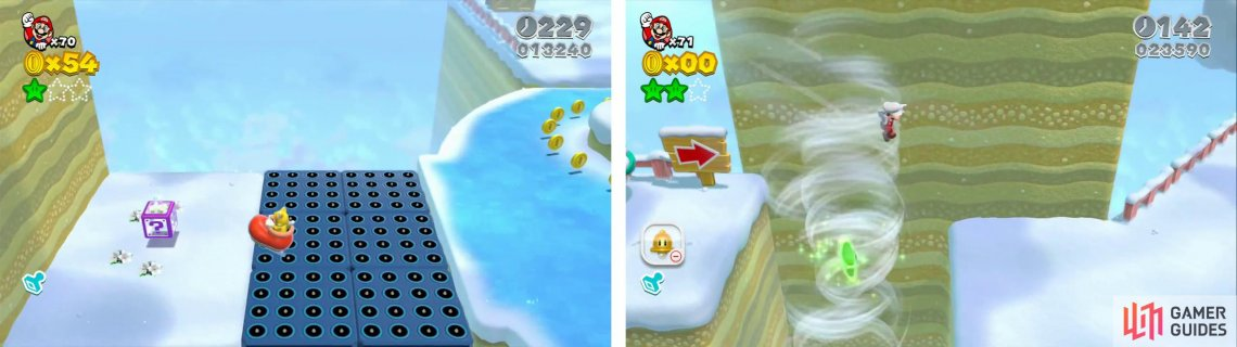 Use a skate to reach a Mystery Box (left) to find a Star inside. Time your jump to grab the final Star (right).