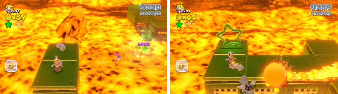 hit the Star off the platform to the right with a boomerang (left). Hop through the green Star Ring and grab all the green coins for another Star (right).