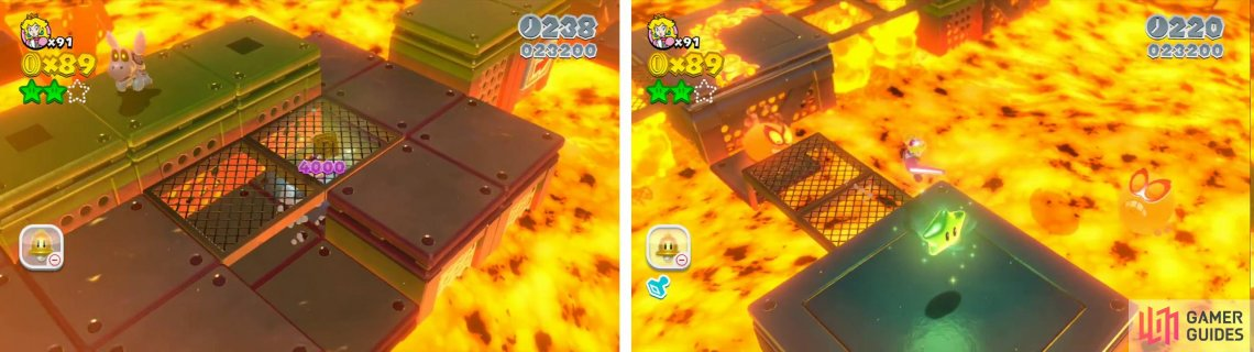 The Stamp (left) can be found on a lower platform when the lava goes down. The final Star is on a platform off the main area (right).