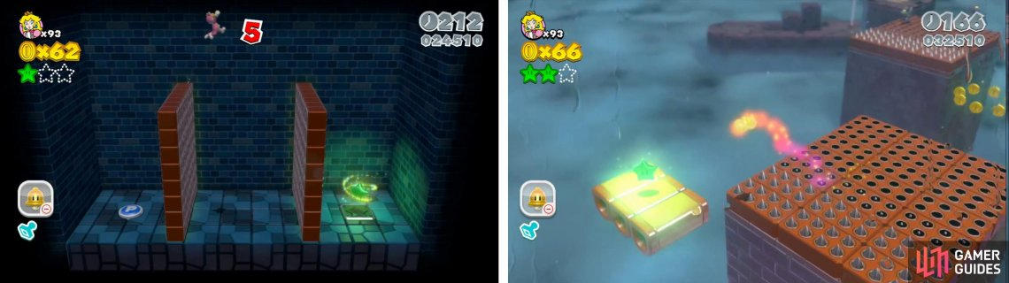 Once inside the Mystery Box use the P-Switch and grab the Star (left). The final Star is on a donut platform off one of the moving spike blocks (right).