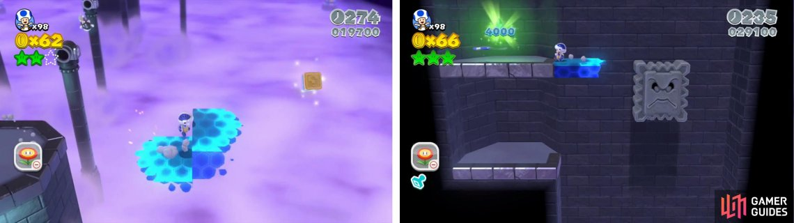 The Stamp is to the right of the main path (left). Inside the Mystery Box use the Thwomp to reach the Star (right).