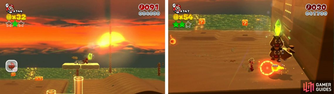 The second Star is abive the clear pip in the centre (left). On the far right of the beach the last Star is in a goomb tower (right).