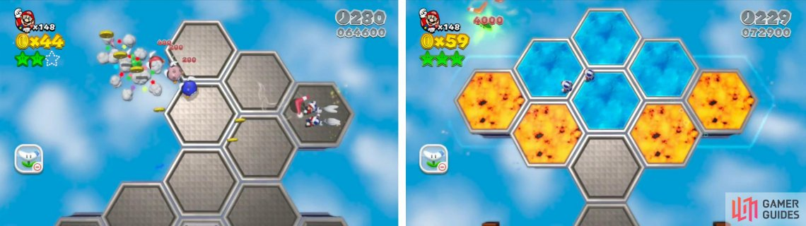 Use the boomerangs to defeat the enemis as you go (left). The final Star can also be grabbed by a boomerang (right).