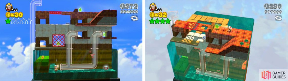 Use the pipes to access the upper areas (left). At the very top of the level you'll reach the final Star (right).
