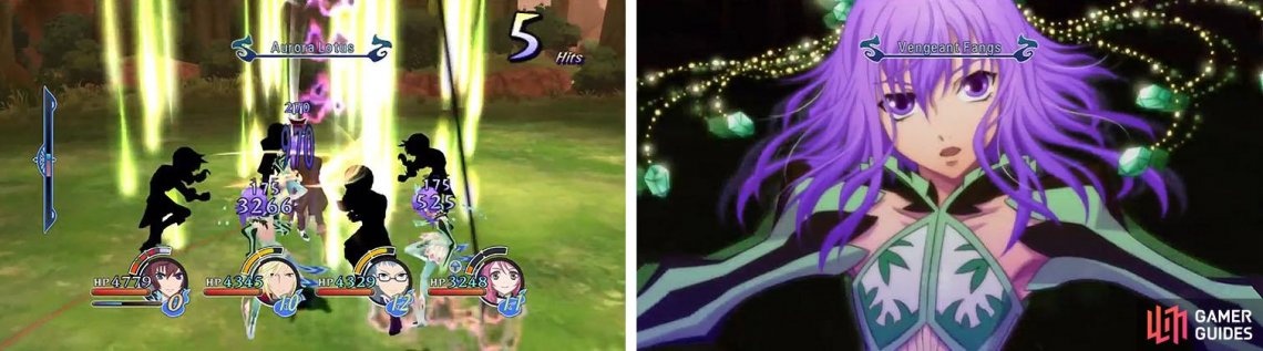 Use Asbel's Aurora Lotus to avoid damage while dealing AOE damage to any of the Little Queens in the vicinity (left). Just make sure to avoid her Mystic Arte, Purification (right).