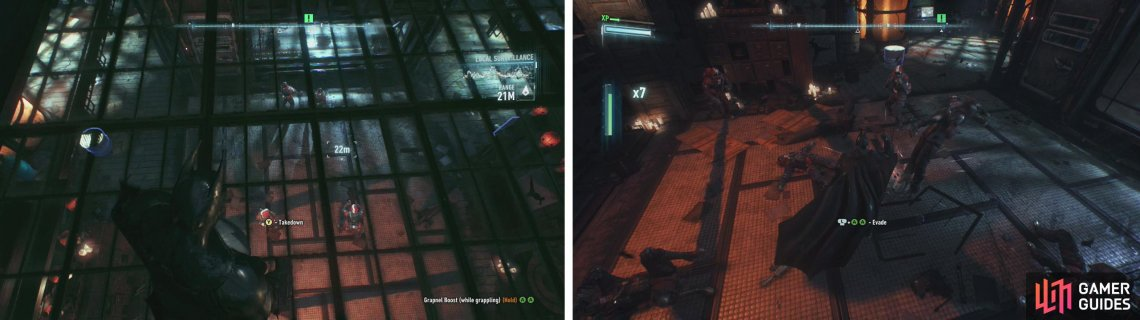 From the skylight use a Takedown on one of the enemies below (left) and then clear out the other Thugs in the room (right).