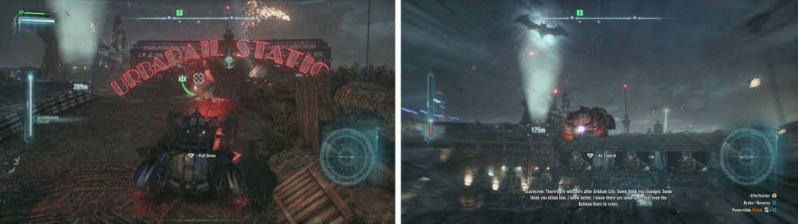 Use the Power Winch to pull down the sign (left). Run up and use Afterburner to jump to the rooftop (right).