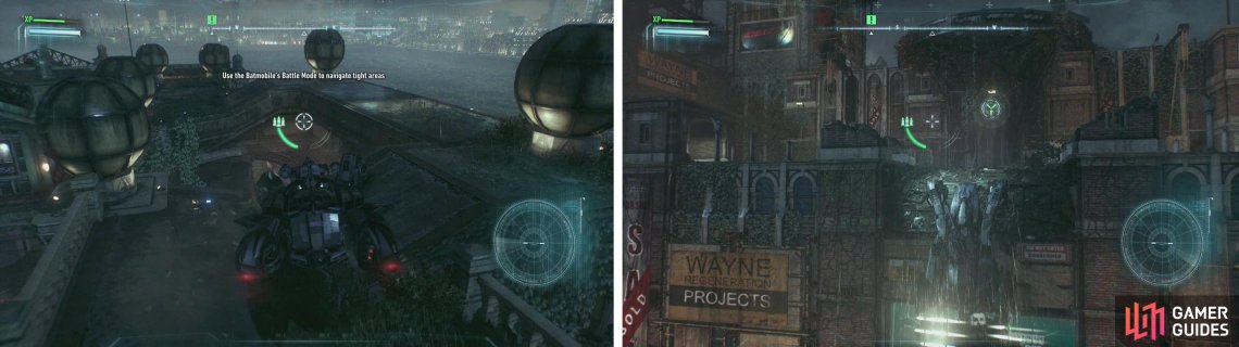 Use Battle Mode to manouver across the rooftop (left). Drive up the wall whiclst attached to the anchor point (right).