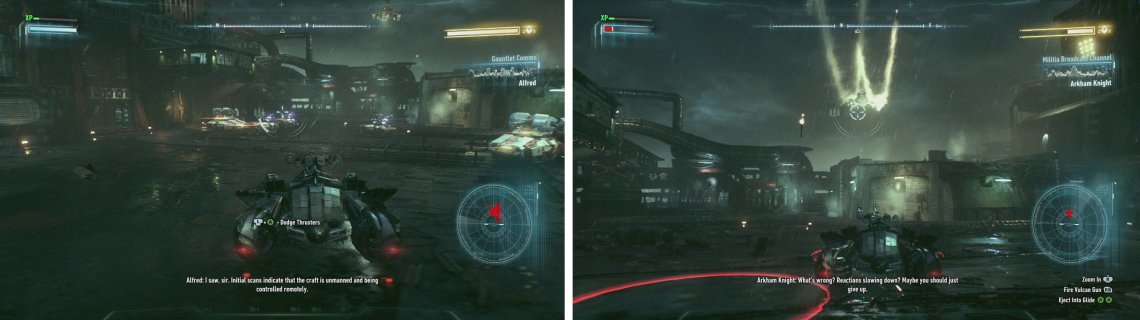 Defeat the Drone tanks (left) first before focusing on the Attack Helicopter (right).