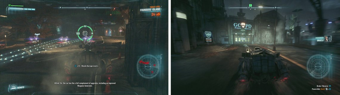Take out the squadron of Drone Tanks (left) and then return to the GCPD precinct (right).