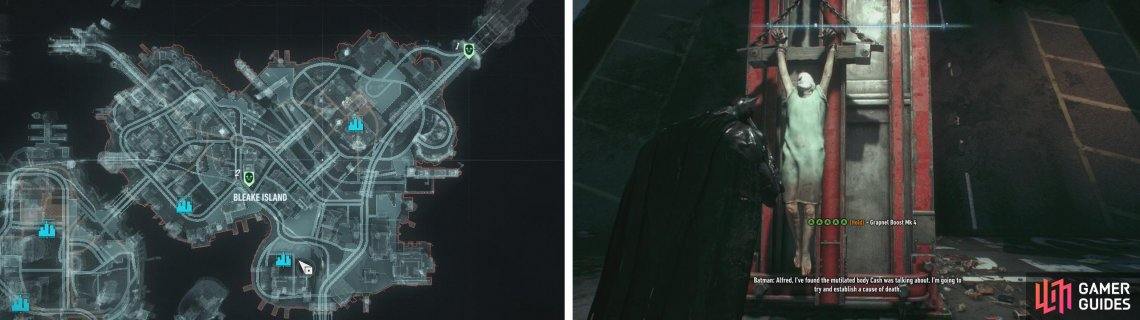 The bodies on Bleake Island can be found at these locations (left). All of the bodies appear chained to walls (right).