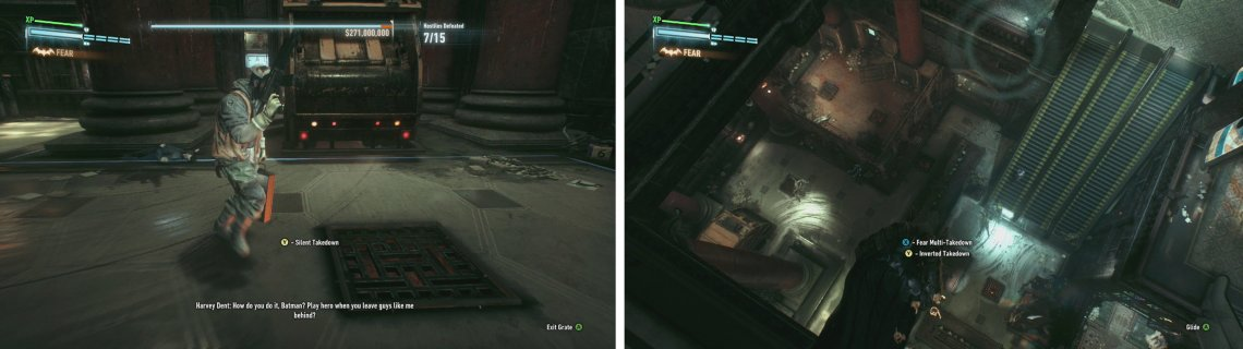 The floor by the vaults/escape trucks are useful in this robbery too (left). The vantage points are useful at getting around the large area quiote quickly (right).