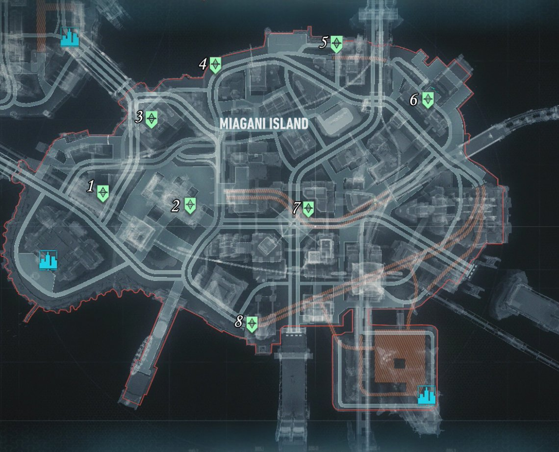 Part 2 Miagani Island Roadblock Locations Own The Roads Most Wanted Mission Walkthroughs Batman Arkham Knight Gamer Guides