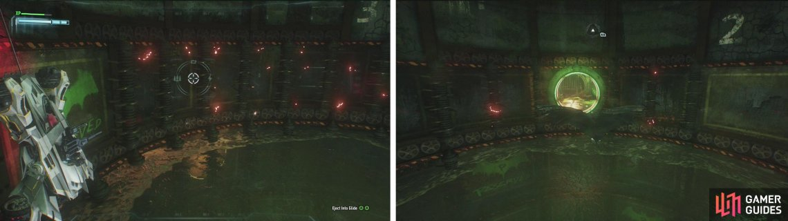 Rotate the platform so that the Batmobile is on the green bat grafitti (left). Eject and fly into the opening opposite (right).