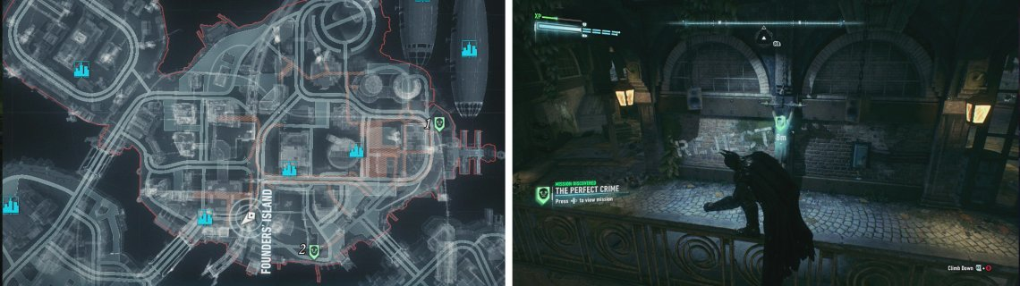 The bodies on Founders' Island can be found at these locations (left). The right picture shows location 1.