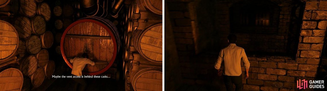 Move the wine casks backwards to create a path forward by circling around them.