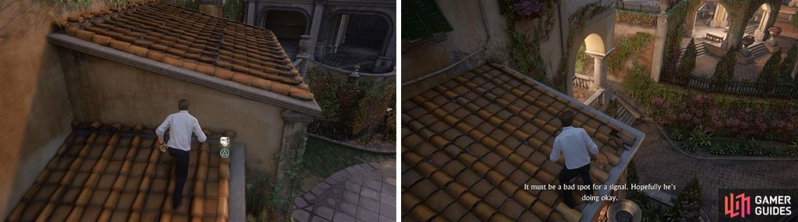 Before boosting Sam, drop into the courtyard below to reach a treasure (left). After boosting Sam, climb the building on the left to reach another treasure (right).