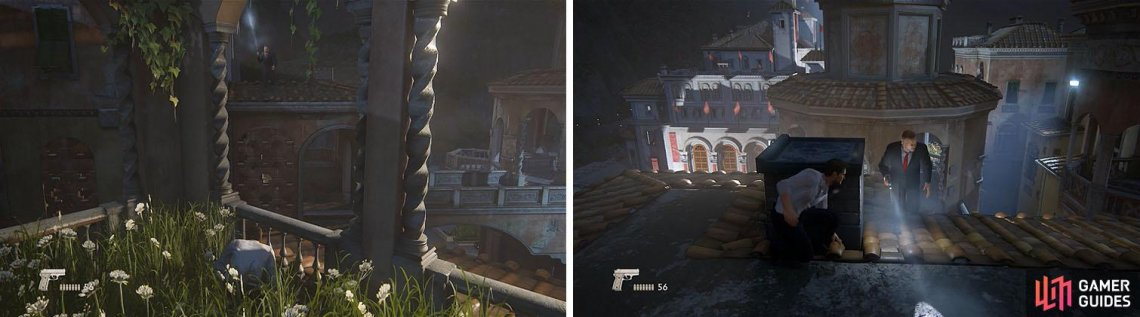Wait for the guard on the roof to walk away (left) and then climb up and take cover by the chimney to stealth kill him (right).