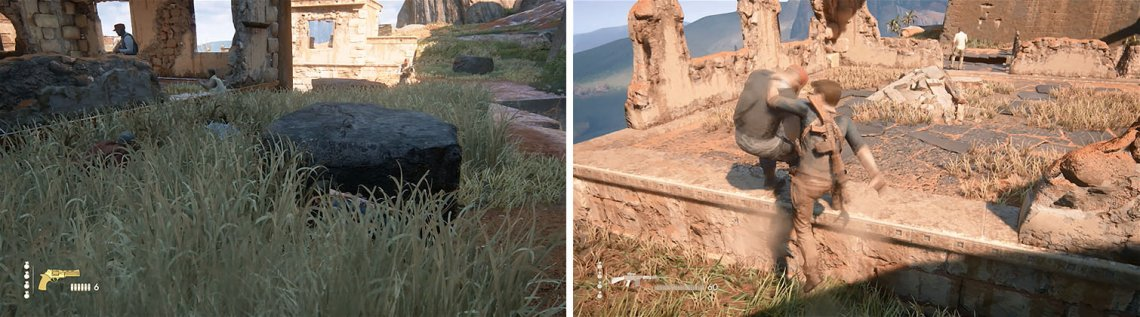 Use the tall grass for cover as the enemies walk by (left). Once they've past you, follow them to deal with them easily (right).