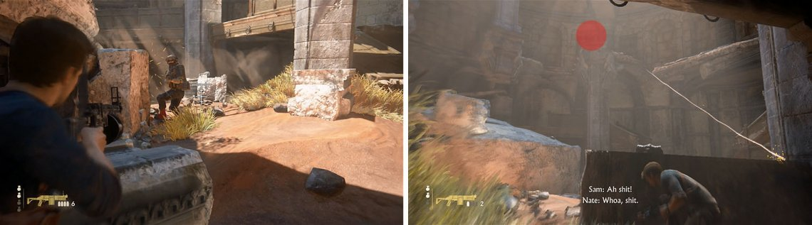Use grenades to take out the heavy armored enemies first (left) and then move up the levels for a height advantage or a grenade launcher enemy will (right).