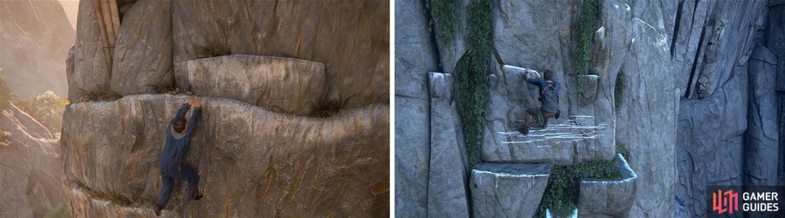 Climbable sections are generally marked differently than other walls and ledges.
