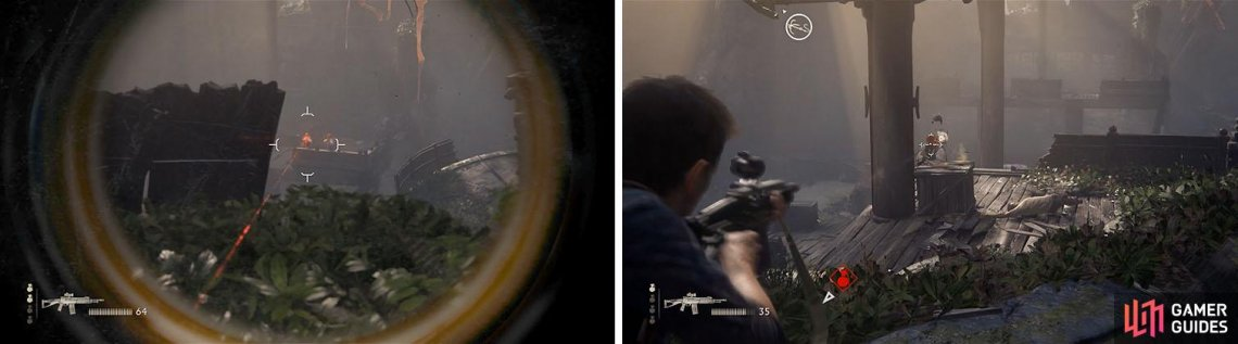 Focus on the sniper first with a scoped weapon, if you have one (left). The remaining enemies can be taken out as you advance forward (right).