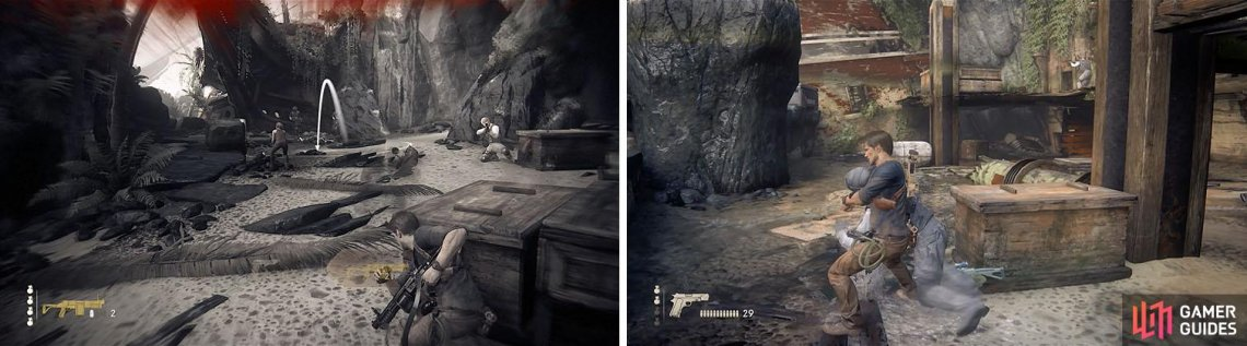 Watch out for the shotgun reinforcements (left). In the next area try and kill some enemies with stealth (right).