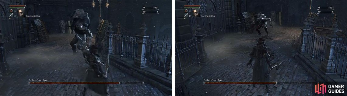 Use your gun to stagger Gascoigne, allowing you to use visceral attacks, and keep a descent distance so you have room to run or move is the stagger fails.