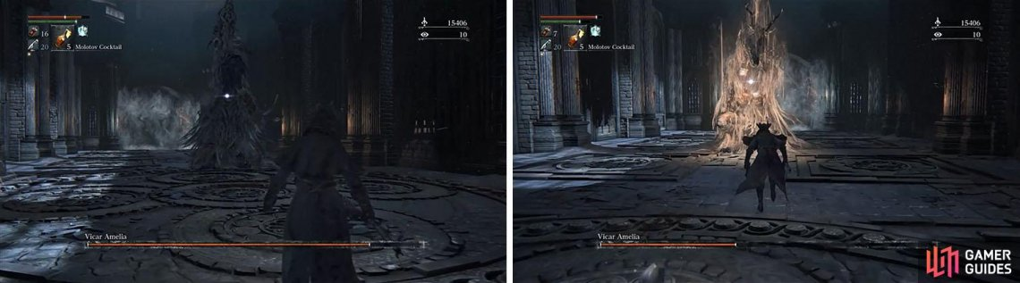 At the beginning of the fight the Vicar will seem to pray before slamming to the ground (left). Later, when she is below 50%, she will then pray to heal damage (right).