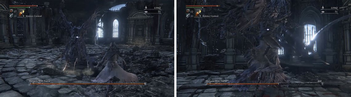 Mergo's Wet Nurse is open for attack after any long animation, such as her Downward Slash (left). She is also vulnerable to attack when she is stuck in the log Blender Combo (right).